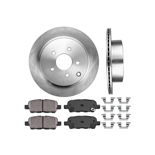 REAR 308 mm Premium OE 5 Lug [2] Brake Disc Rotors + [4] Ceramic Brake Pads + Clips