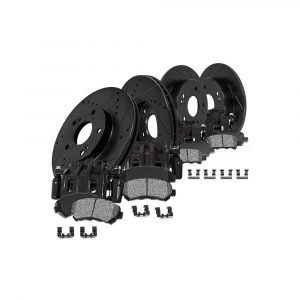 CCK01783 FRONT + REAR Powder Coated Black [4] Calipers + [4] Black DS Rotors + Low Dust [8] Ceramic Pads