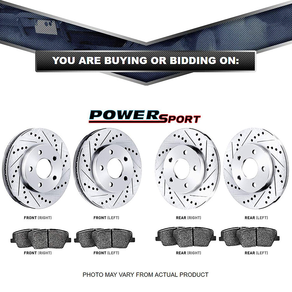 Full Kit PowerSport Slotted Brake Rotors Disc and Ceramic Pads Camaro,Firebird