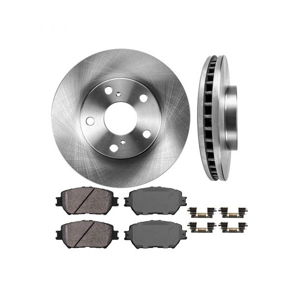 FRONT 274.5 mm Premium OE 5 Lug [2] Brake Disc Rotors + [4] Ceramic Brake Pads + Clips