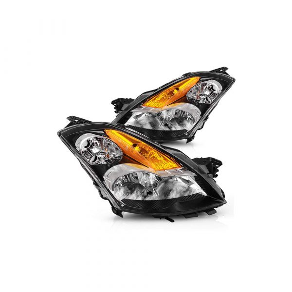 Headlight Assembly For 2007 2008 2009 Nissan Altima Black Factory Style Replacement Headlights Pair, One-Year Warranty(Passenger And Driver Side)