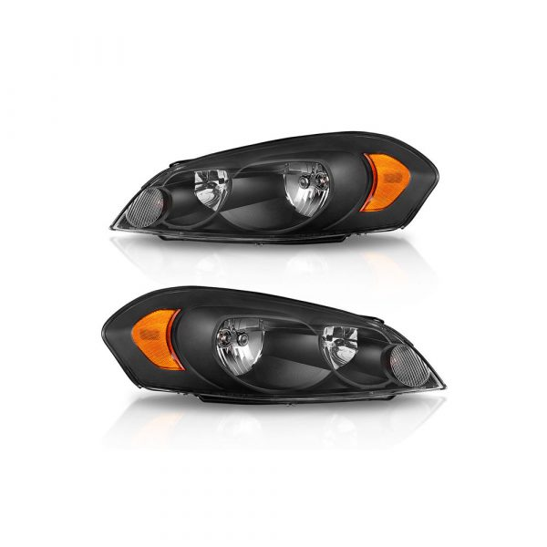 For 2006-2016 Chevy Impala Black Housing Amber Corner Bumper Headlights LH+RH US 2006 2007 2008 2009 2010 2011 2012 2013 2014 2015 2016