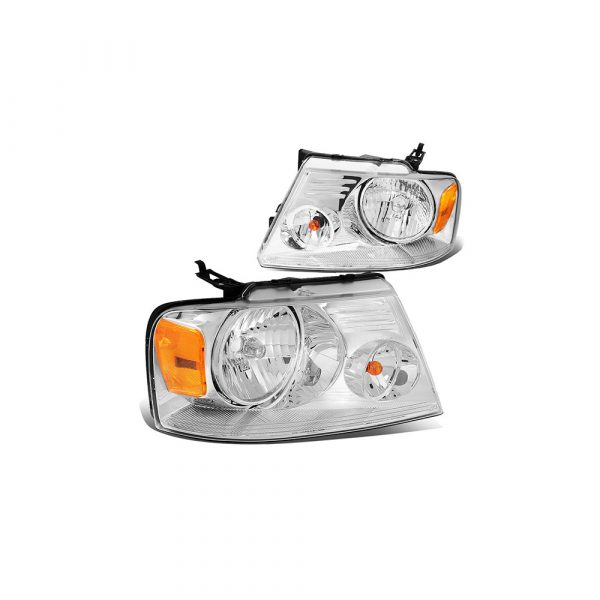For 04-08 Ford F150 11th Gen Chrome Housing Amber Corner Headlight Headlamp 05 06 07 Left+Right
