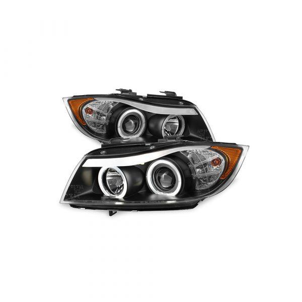 Fit 2006-2008 BMW E90 3-Series 4Door Black Halo LED Projector Eye LId Headlights