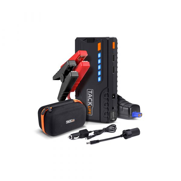 TACKLIFE T6 Car Jump Starter – 600A Peak 16500mAh, 12V Auto Battery Jumper with Quick-charge, Booster (up to 6.2l gas, 5.0l diesel), Portable Power Pack for Cars, Truck, SUV, UL Certified