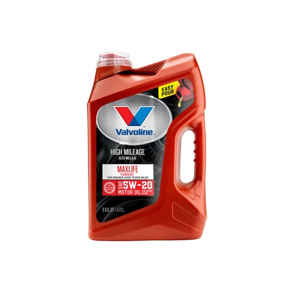Valvoline High Mileage with MaxLife Technology SAE 5W-20 Synthetic Blend Motor Oil – Easy Pour 5 Quart