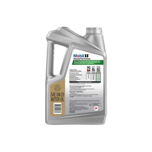Mobil 1 0W-20 Advanced Fuel Economy Full Synthetic Motor Oil, 5 qt