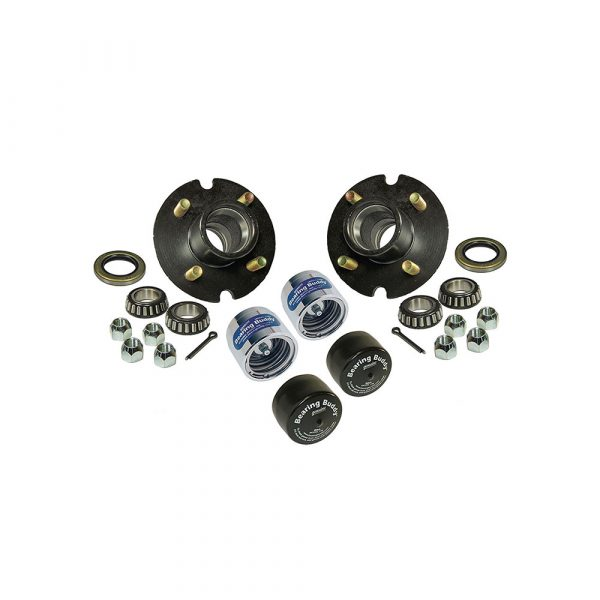 Trailer Hub Assemblies With Chrome Bearing Buddies and Bras – 1 Inch I.D. Bearings