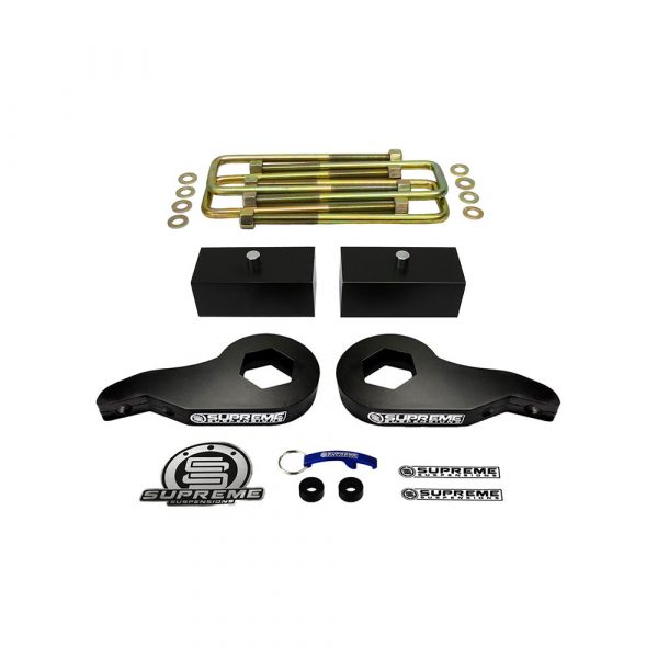 Supreme Suspensions – Chevy + GMC K1500 + Tahoe + Yukon + Suburban 3 Front Suspension Lift + 2 Rear Lift Kit (Black) PRO